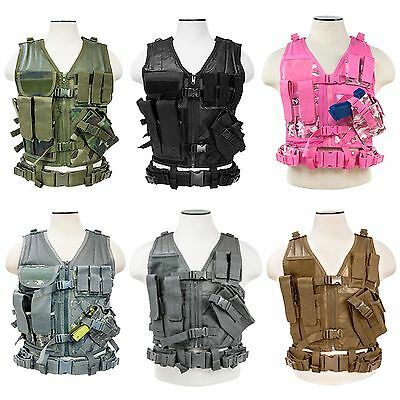 NcSTAR CTV2916 Cross Draw PVC Tactical Hunting Vest MOLLE Gun Magazine Holster