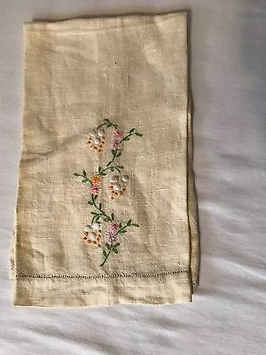 """Linen hand embroidered floral 13X 20"""" vintage hand towel"""