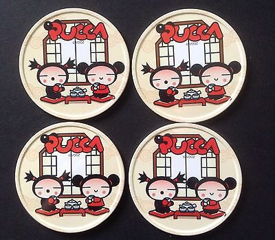 Pucca Metal Round Coasters Set Of 4 Cork Underneath Garu Vooz Korean Animation