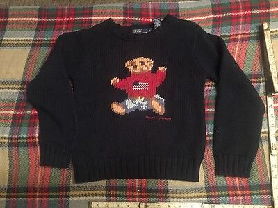 Vintage Polo Ralph Lauren Teddy Bear Sweater  youth Boys Size 6  Wool Look