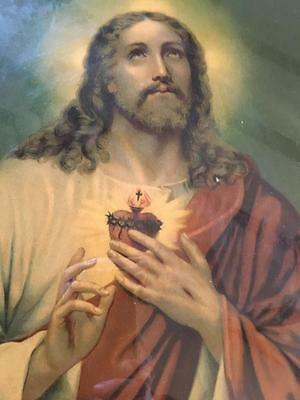 Vintage- Religious Print - Sacred Heart Of Jesus - Collectable - Rare
