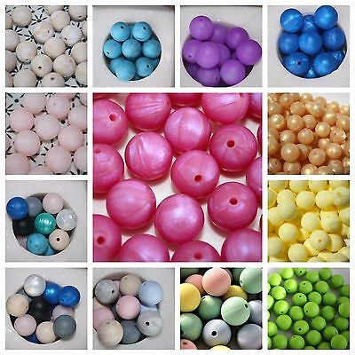 BPA free Silicone Beads loose assorted Colours 15mm round Australia Mint Pink