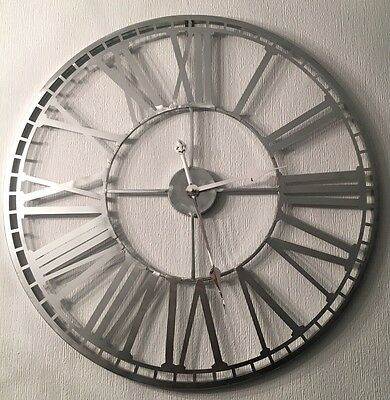 XL Skeleton Cut Out Distressed Silver Metal Roman Numeral Wall Clock NEW 70cm