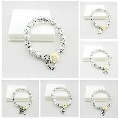 New Kids 8Mm White Silver Dot Acrylic Beads Stretch Bracelet With Flower Charms