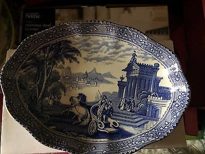 """Arcadian Chariots"" Vintage early 20th Century Oval Plate"