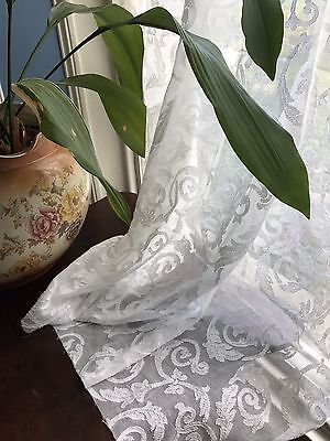 """Antique French Pure Cotton Madras Scrolls Ivory Lace Curtain 40""""/46"""" Soiled"""