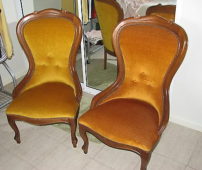 Bedroom chairs ('Victorian' style), matching pair of