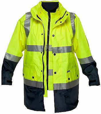 Hi Vis 4 in 1 Winter Jacket and Vest Combo   Prime Mover HV888-1   Yellow / Navy