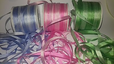 3 Metres 4mm 100% Pure Silk Ribbon Variegated Blue Pink Blue Embroidery  Minis