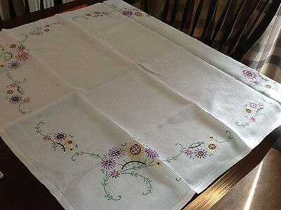 Vintage Floral Embroidered Table Cloth Tea Cloth on Linen Nice Work