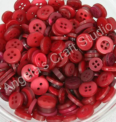 100 SMALL RED Buttons New - Christmas / Xmas Sewing Craft Scrapbooking Cards