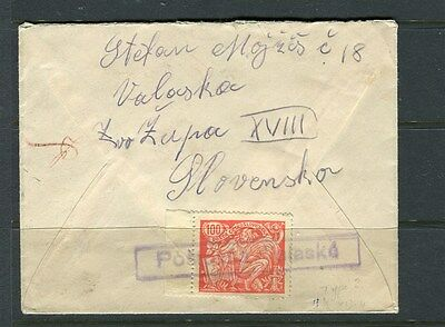 CZECHOSLOVAKIA early locally used Letter/Cover