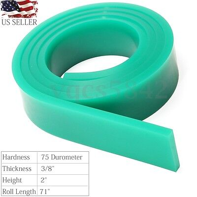 "75 Duro Silk Screen Printing Squeegee Rubber Blade Roll 71"" In / 6FT Green Blade"