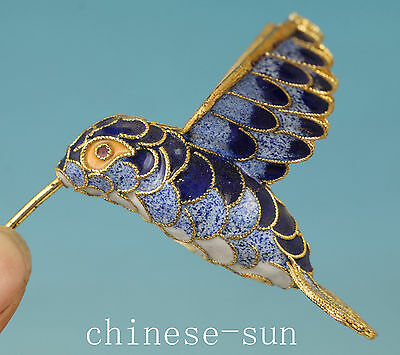 Lovely Chinese Old Cloisonne Hand Painting Hummingbird Statue Home Decoration