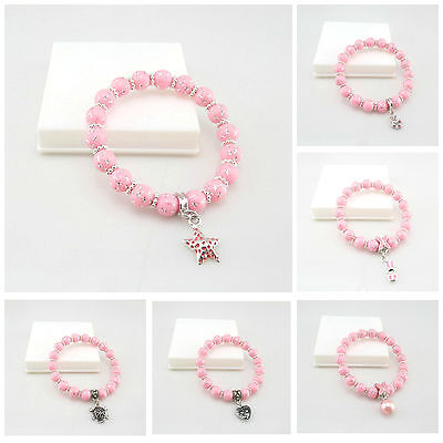Kids 8Mm Pink Silver Star/Dot Acrylic Beads Stretch Bracelet With Charm Design