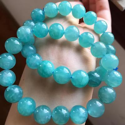 Natural Mozambique Ice Amazonite Gems Round Beads Bracelet 12mm