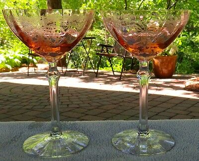Set of TWO Fostoria Pink June Etch Tall Champagne Goblets