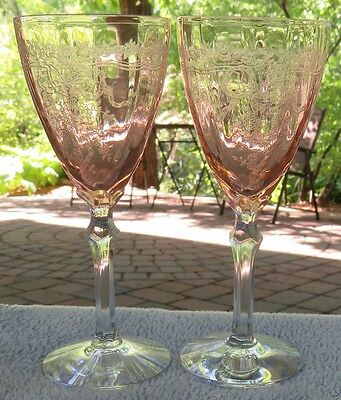Set of TWO Fostoria Pink June Etch Wine Goblets