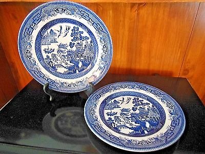 Vintage Churchill Engand Blue Willow Lunch Plate ~ Set of two