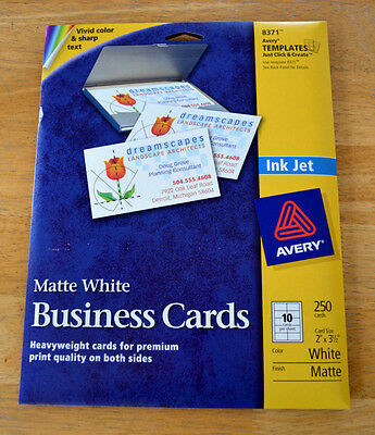 Avery 8371 Two-Side Printable Business Cards Inkjet White Matte - 250/Pack