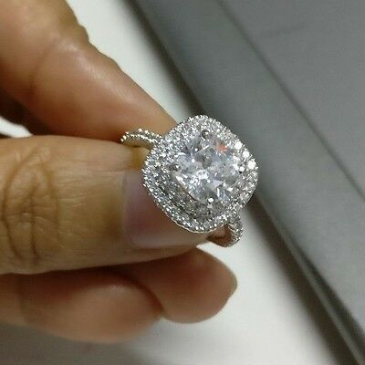2.00Ct Cushion Cut Diamond Solitaire Halo Engagement Ring 14k White Gold Over