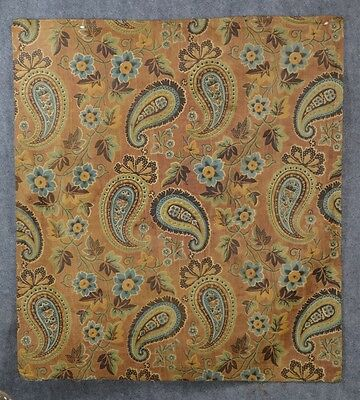chintz fabric early antique  brown blue 25 x 28 in. original 18th 19th c