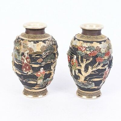 Vintage Pair of Japanese Satsuma Vases with  raised decorations.good conditions