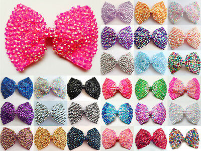 Ladies/girls Large Hair Bows Crystal Diamante Rhinestone Bow Hair Clips