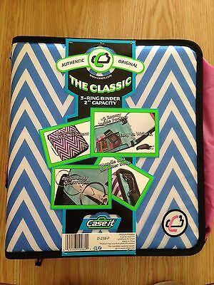 "Case It ""The Classic"" 3-Ring Binder 2"" Capacity Blue/White/Pink D-258-P"