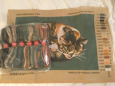 Brand New EHRMAN Tortoiseshell Cat Needlepoint Kit