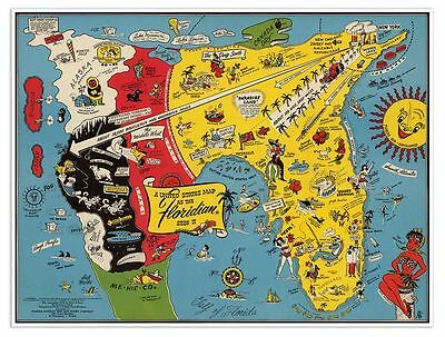 Floridian's Idea of the United States of America & Florida USA MAP circa 1948
