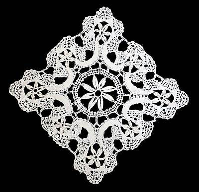 Vintage white pretty intricate lace square doily measuring 18cm across