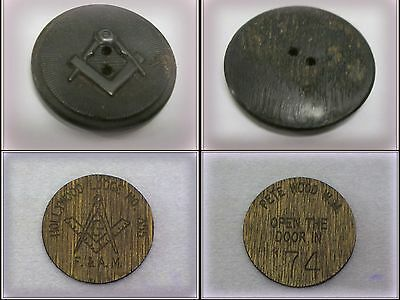 Antique Carved Wood Masonic Button & Hollywood Lodge Political Wood Disk
