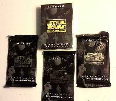 1995 Star Wars Customizable Card Game Starter Set & 3 Booster Packs- LIMITED