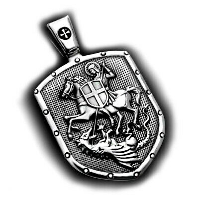 St.george On Horse Kills Dragon Shield Cross Medal Sterling 925 Silver Pendant
