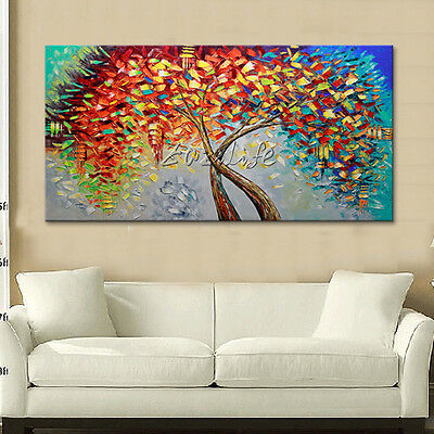 Modern Hand Painted palette knife texture Tree on Canvas Oil Painting Wall Art