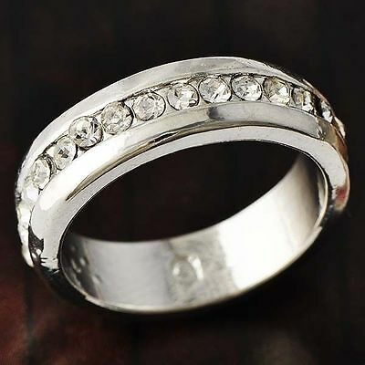 Clear Crystal  Womens eternity Ring vogue 18k silver plated size 7.5