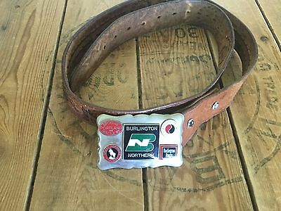 Burlington Northern Railroad Belt Buckle With Leather Belt Men's