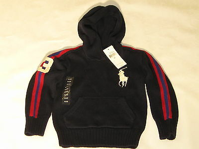 NWT -$65 Ralph Lauren Boys Hoodie Knit Sweater Big Pony - Navy Blue Red -4/4T