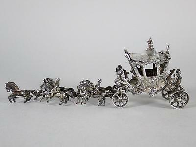 Antique German 800 Sterling Silver FIGURAL Horse & Carriage Box 95 GRAMS