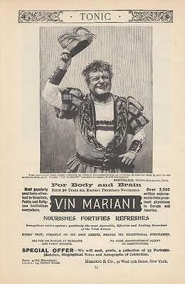 1894 Mariani & Co New York NY Ad Vin Mariani Tonic Nourishes Fortifies Refreshes