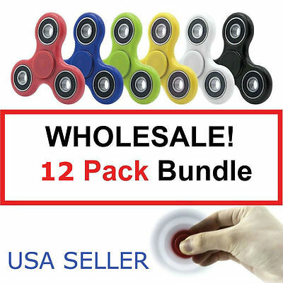 12 Pack Various Color Tri-Spinner Fidget Toy EDC Hand Finger Spinner Desk Focus