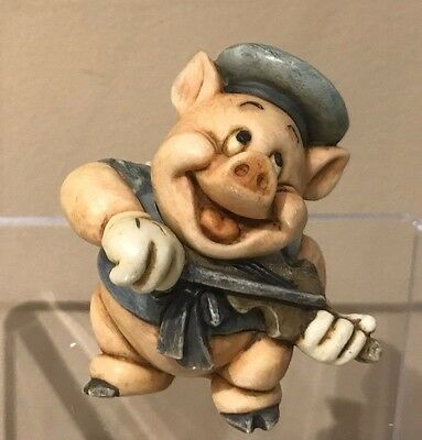 Disney Harmony Kingdom Figurine New in Box Three Little Pigs Fiddler Pig LTD