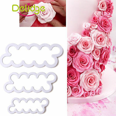 Rose Flower Cutter Mold Fondant Cake Baking Maker Decorating Tools Cookie 3 Pcs