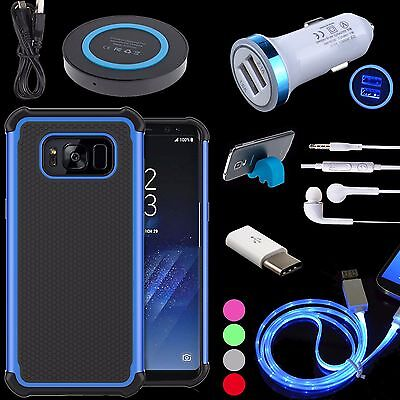 Shockproof Rubber Back Case Charger Sync Cable Stand for Samsung Galaxy S8, Plus