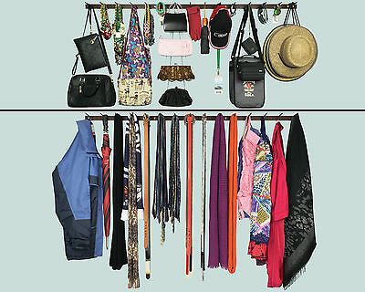 1.5 Metre Large HangitUp 15 Pin Tie Scarf Belt Hat Cap Hanger Hooks Storage Rack