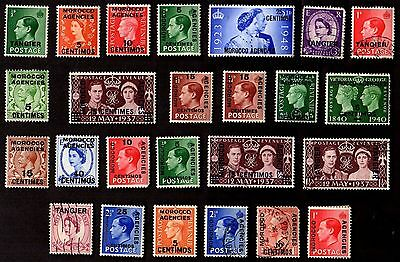 25 All Different BRITISH MOROCCO AGENCIES    STAMPS