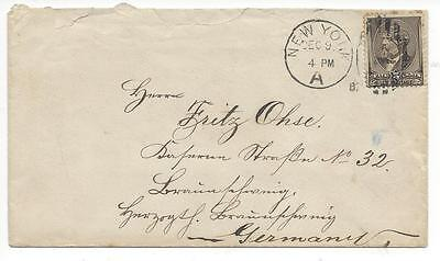 NEW YORK to GERMANY late 1800s cover US #205 Garfield Braunschweig