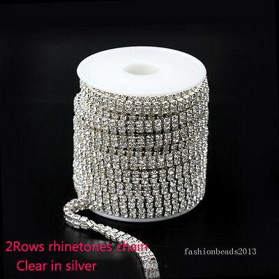 1/10yard 2Row ss6 ss8 ss12 ss16 clear crystal rhinestone trim Silver close chain