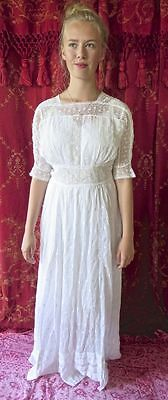 Antique Edwardian 1900s White Shamrock Embroidered Irish Crochet Lace Dress 36 B